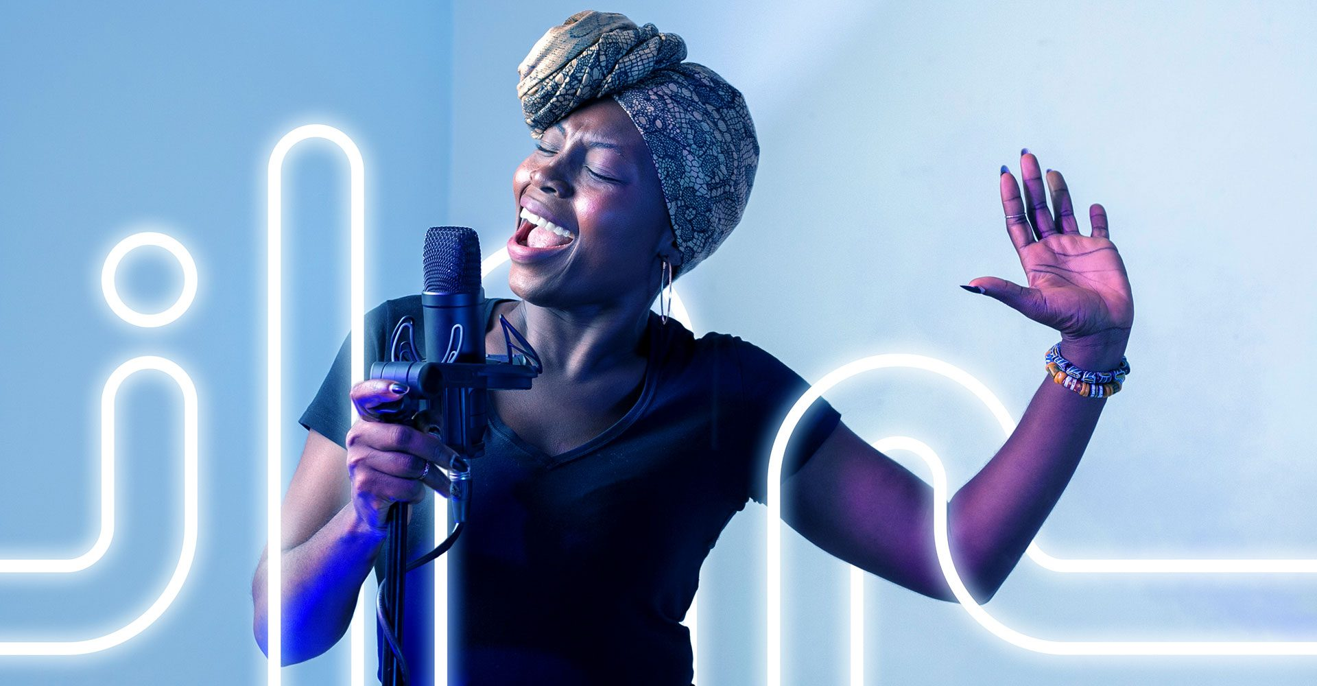 Neon Pink and Neon Blue Music Production Equipment